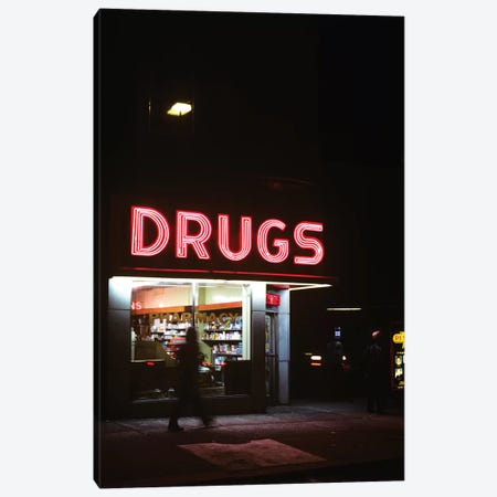 1980s Drug Store At Night Pink Neon Sign Drugs Canvas Print #VTG501} by Vintage Images Canvas Art Print