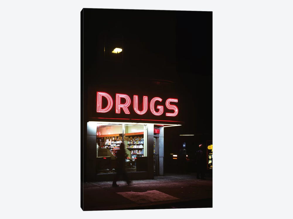 1980s Drug Store At Night Pink Neon Sign Drugs by Vintage Images 1-piece Canvas Print