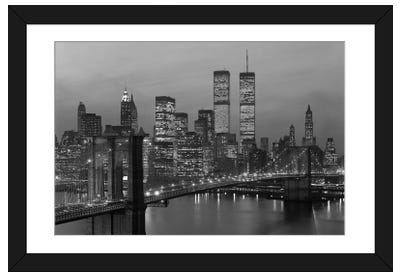 1980s New York City Lower Manhattan Skyline Brooklyn Bridge World Trade Center Framed Art Print