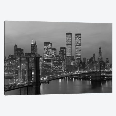 1980s New York City Lower Manhattan Skyline Brooklyn Bridge World Trade Center Canvas Print #VTG503} by Vintage Images Canvas Print