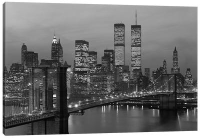 1980s New York City Lower Manhattan Skyline Brooklyn Bridge World Trade Center Canvas Art Print