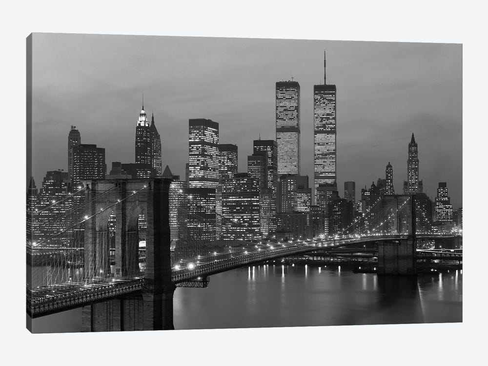 1980s New York City Lower Manhattan Skyline Brooklyn Bridge World Trade Center by Vintage Images 1-piece Canvas Print