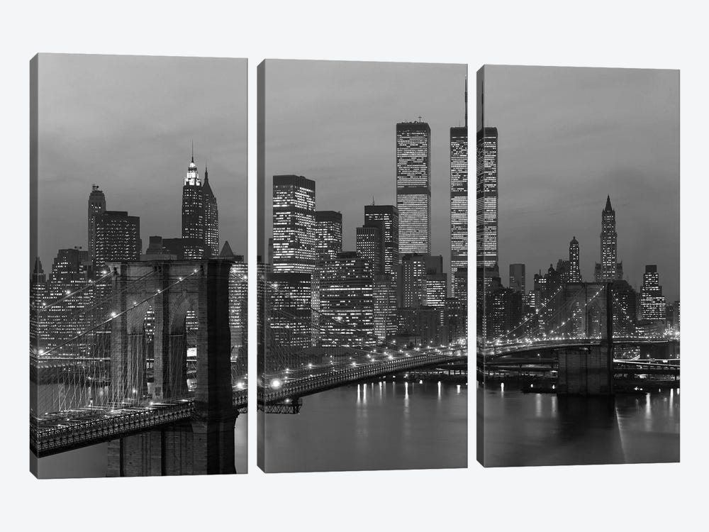 1980s New York City Lower Manhattan Skyline Brooklyn Bridge World Trade Center by Vintage Images 3-piece Canvas Print
