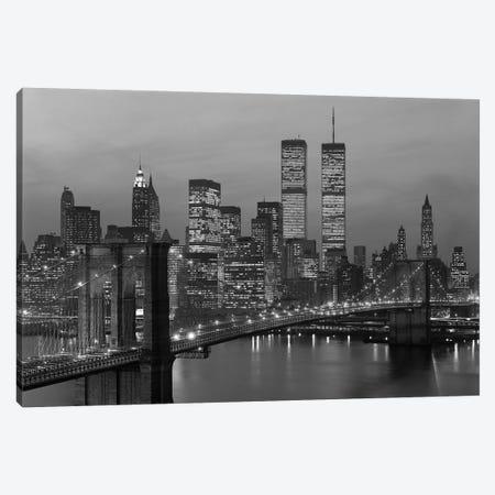 1980s New York City Lower Manhattan Skyline Brooklyn Bridge World Trade Center Canvas Print #VTG503} by Vintage Images Canvas Print