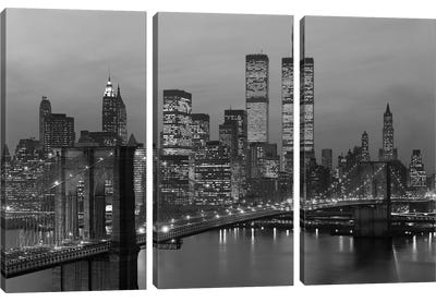 1980s New York City Lower Manhattan Skyline Brooklyn Bridge World Trade Center Canvas Art Print