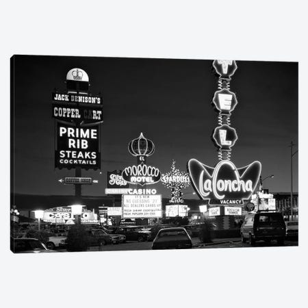 1980s Night Neon On The Strip For El Morocco La Concha Stardust Las Vegas Nevada USA Canvas Print #VTG504} by Vintage Images Canvas Wall Art