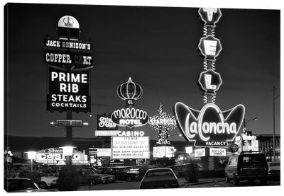 1980s Night Neon On The Strip For El Morocco La Concha Stardust Las Vegas Nevada USA Canvas Art Print