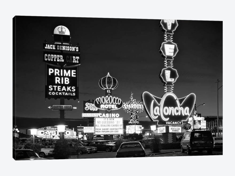 1980s Night Neon On The Strip For El Morocco La Concha Stardust Las Vegas Nevada USA 1-piece Canvas Wall Art