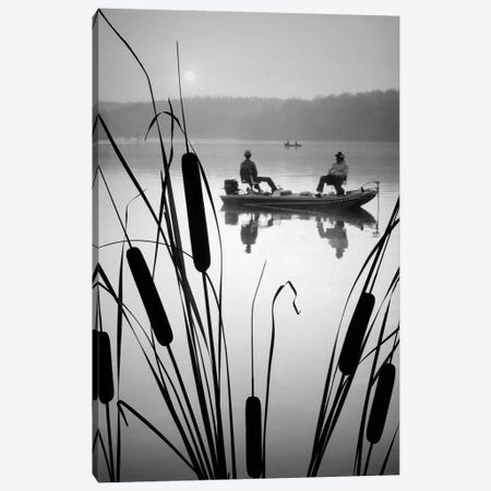 1980s Two Anonymous Silhouetted Men In Bass Fishing Boat On Calm Water Lake Cattails In Foreground Canvas Print #VTG505} by Vintage Images Canvas Artwork