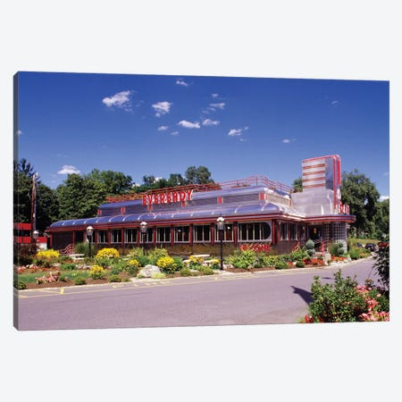 1990s Classic Art Deco Style Diner Hyde Park NY USA Canvas Print #VTG507} by Vintage Images Canvas Artwork