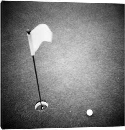 2000s Golf Ball On Putting Green With Flag Marker In Hole From Above Canvas Art Print