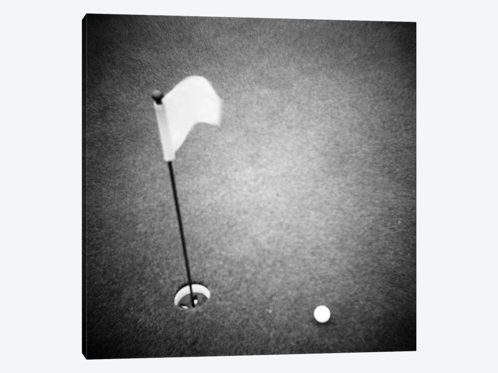 2000s Golf Ball On Putting Green With Flag Marker In Hole From Above by Vintage Images 1-piece Canvas Print