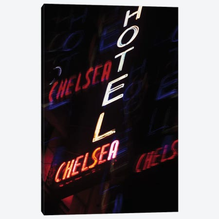2000s Multiple Exposure Neon Sign Hotel Chelsea New York City New York USA Canvas Print #VTG510} by Vintage Images Canvas Wall Art