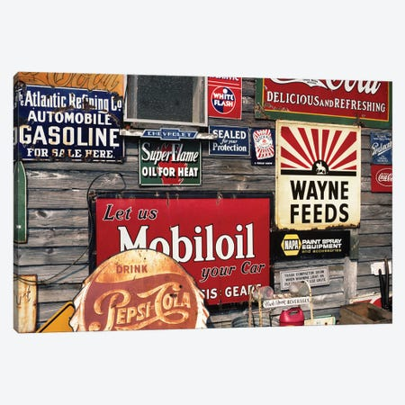 Antique Store Featuring Old Brand Name Advertising Signs Canvas Print #VTG511} by Vintage Images Canvas Art