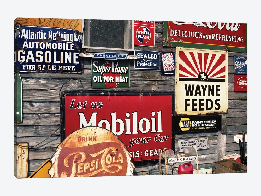 Antique Store Featuring Old Brand Name Advertising Signs by Vintage Images 1-piece Canvas Art