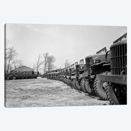 April 19 1941 Alignment Row Rows Dodge Army Trucks Jeeps Fort Dix NJ Canvas Print #VTG512} by Vintage Images Canvas Wall Art