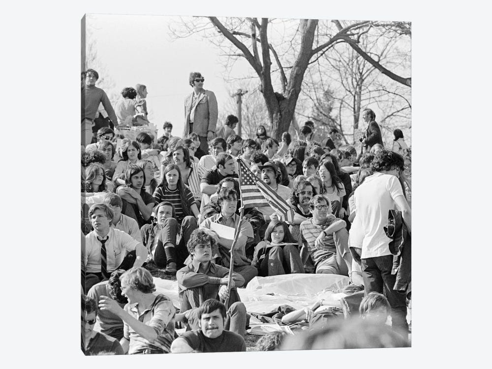 April 22 1970 Crowd Attending The First Earth Day Celebration Fairmont Park Philadelphia Pennsylvania USA by Vintage Images 1-piece Canvas Wall Art