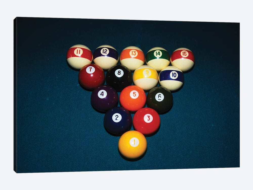 Billiard Balls Racked Up On Pool Table by Vintage Images 1-piece Canvas Wall Art