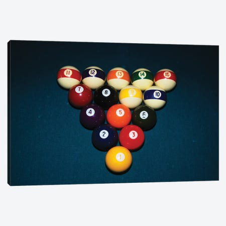 Billiard Balls Racked Up On Pool Table Canvas Print #VTG517} by Vintage Images Canvas Art Print