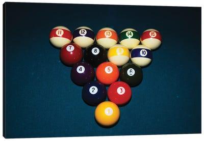 Billiard Balls Racked Up On Pool Table Canvas Art Print