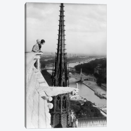 1920s Two Women Looking Out From Top Of Notre Dame Cathedral Paris France Canvas Print #VTG51} by Vintage Images Art Print
