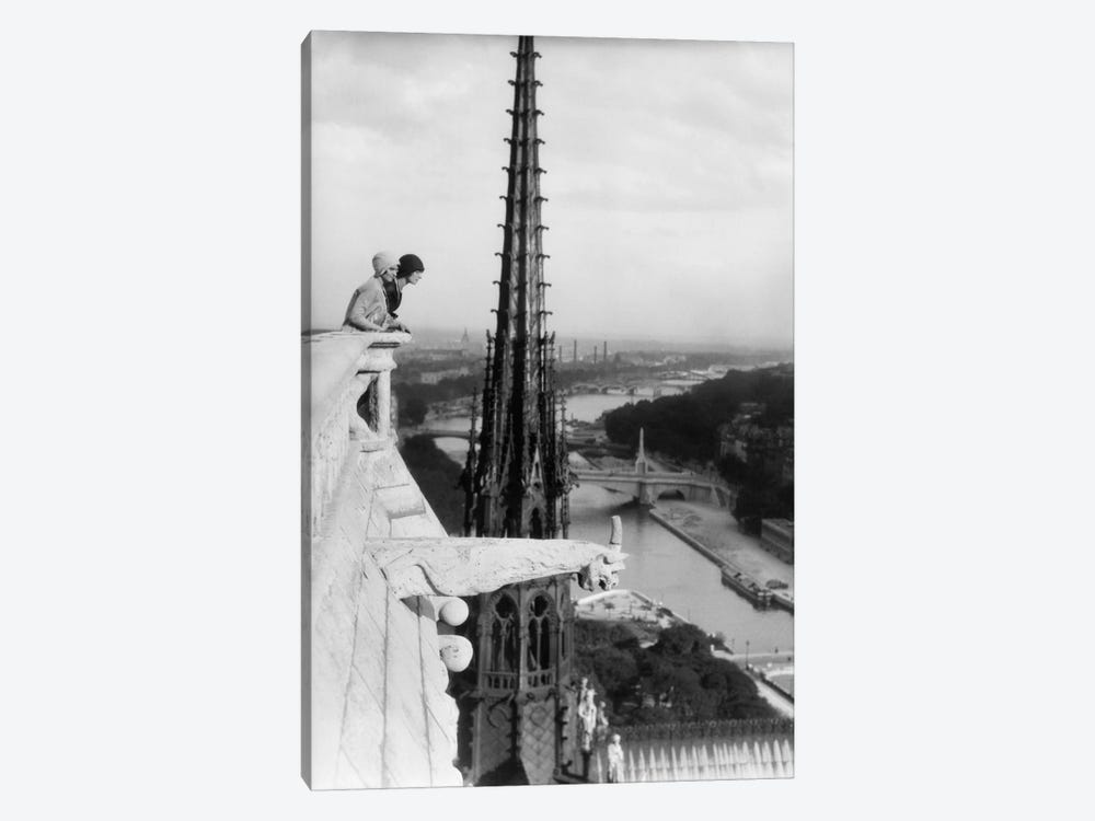 1920s Two Women Looking Out From Top Of Notre Dame Cathedral Paris France by Vintage Images 1-piece Canvas Art