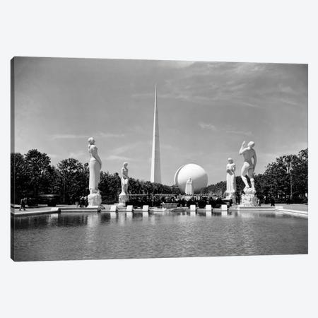 Constitution Mall 1939 World's Fair Pond Surrounded By Statues With Perisphere And Trylon Tower Obelisk New York USA Canvas Print #VTG521} by Vintage Images Canvas Art Print