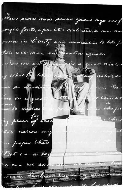 Handwritten Gettysburg Address Superimposed Over Statue At Lincoln Memorial Canvas Art Print