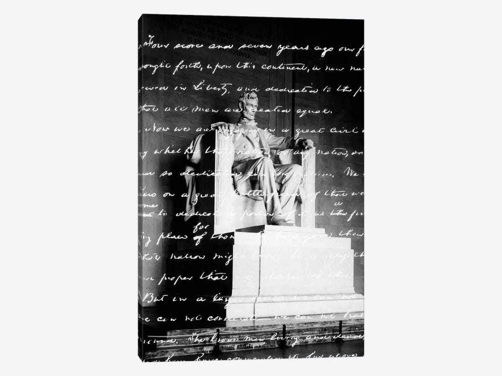 Handwritten Gettysburg Address Superimposed Over Statue At Lincoln Memorial by Vintage Images 1-piece Canvas Artwork