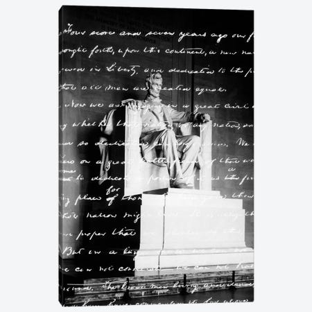 Handwritten Gettysburg Address Superimposed Over Statue At Lincoln Memorial 3-Piece Canvas #VTG524} by Vintage Images Canvas Art