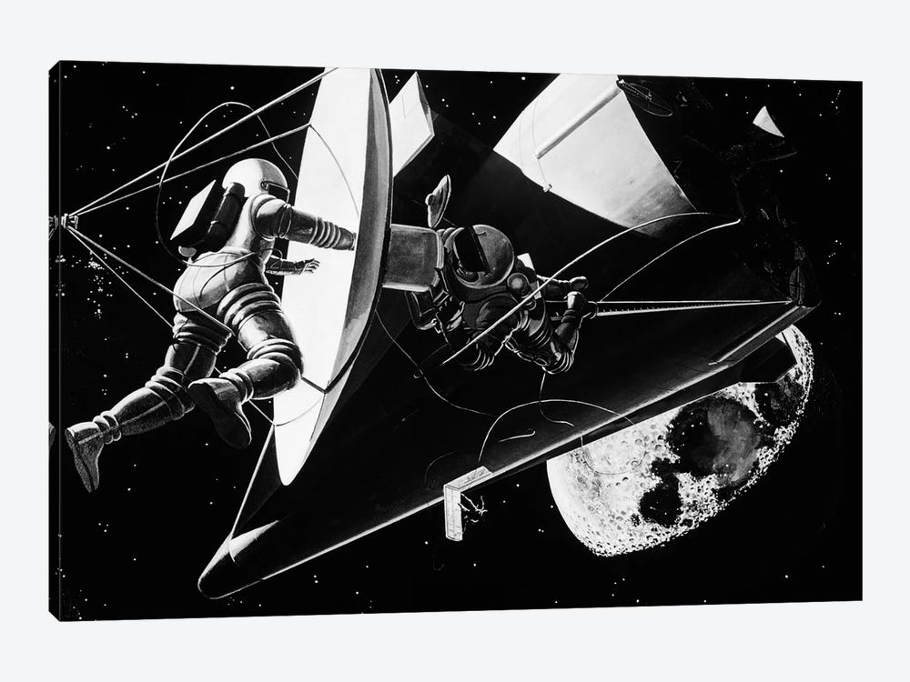 Illustration 1960s Weightless Astronauts Eva Extravehicular Activity Assembling Reflector For Space Station Science Sci-Fi Moon by Vintage Images 1-piece Canvas Print