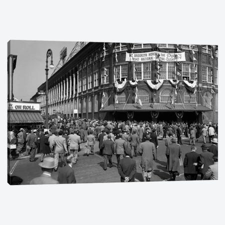 October 1947 Dodger Baseball Fans Pour Into Main Entrance Ebbets Field Brooklyn Borough New York City USA Canvas Print #VTG529} by Vintage Images Canvas Art Print
