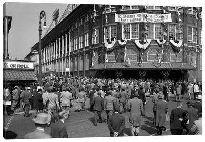 October 1947 Dodger Baseball Fans Pour Into Main Entrance Ebbets Field Brooklyn Borough New York City USA Canvas Art Print