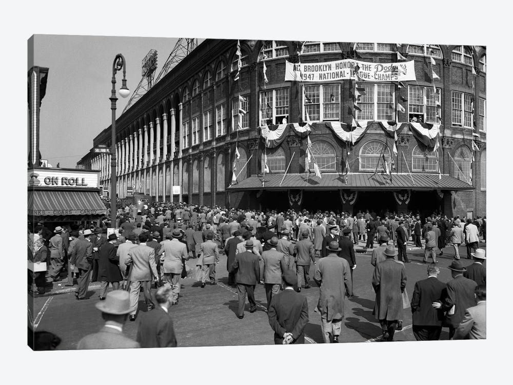 October 1947 Dodger Baseball Fans Pour Into Main Entrance Ebbets Field Brooklyn Borough New York City USA by Vintage Images 1-piece Art Print