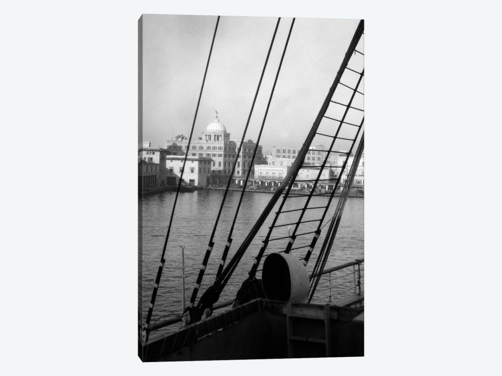 1920s View From The Ship SS Lafayette The Customs House Havana Cuba by Vintage Images 1-piece Canvas Art Print