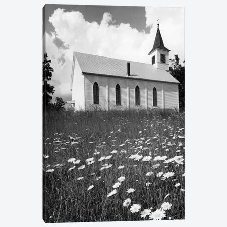 Rural Church In Field Of Daisies Canvas Print #VTG531} by Vintage Images Canvas Wall Art