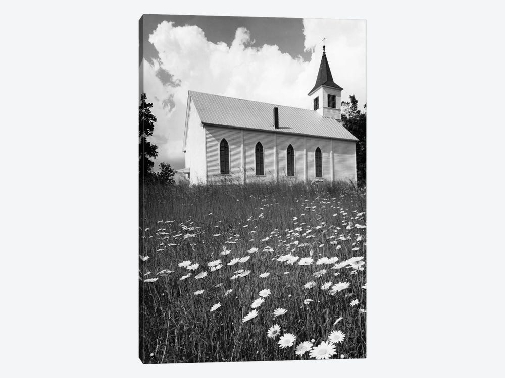 Rural Church In Field Of Daisies 1-piece Canvas Wall Art