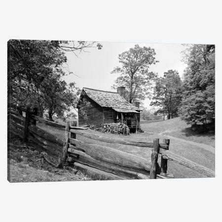 Rustic Log Cabin From 1880s Behind Post & Rail Fence In Blue Ridge Mountains 3-Piece Canvas #VTG532} by Vintage Images Canvas Wall Art