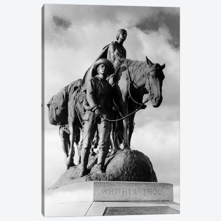 Statue Of Pioneer Woman Holding Baby On Horse Led By Husband In Penn Valley Park Kansas City Missouri USA Dedicated 1927 3-Piece Canvas #VTG534} by Vintage Images Canvas Art Print