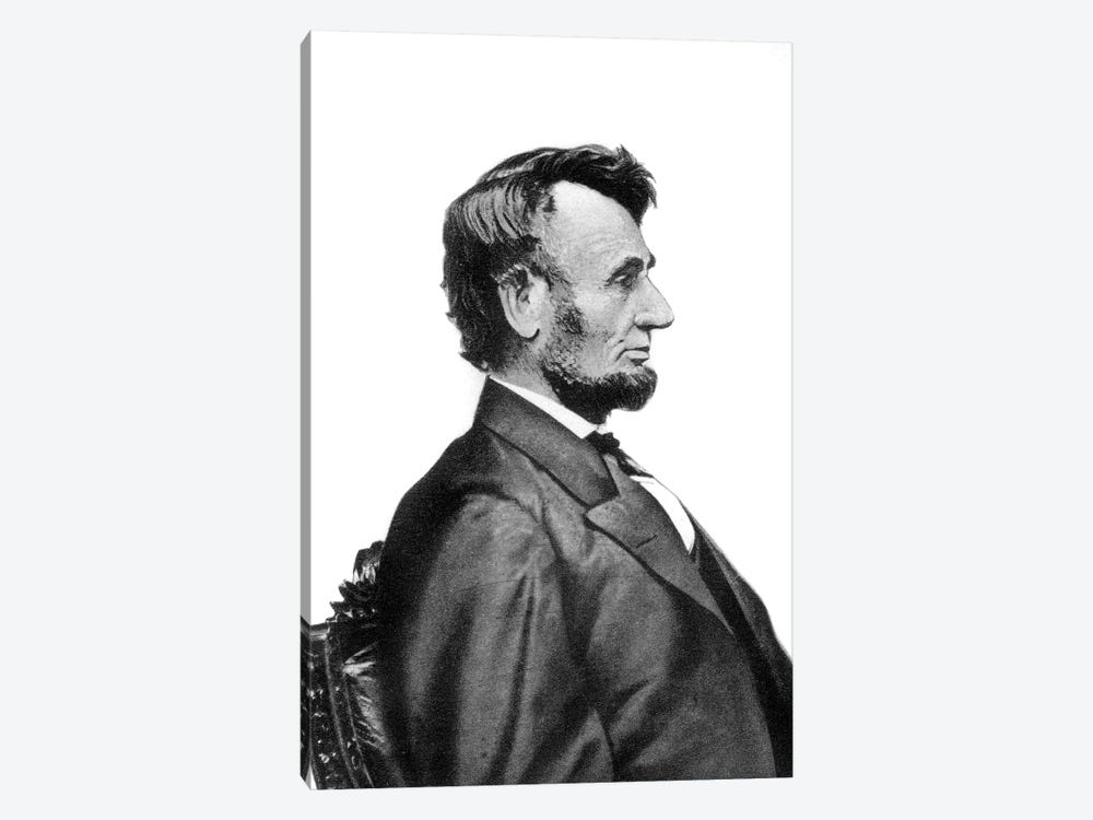 1860s Profile Portrait President Abraham Lincoln Likeness That Appears On Lincoln Penny By Mathew Brady by Vintage Images 1-piece Canvas Wall Art