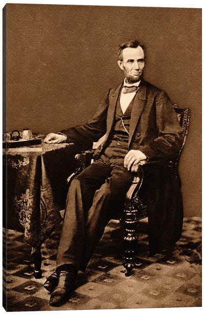 1863 Portrait Of 16th President Abraham Lincoln Canvas Art Print