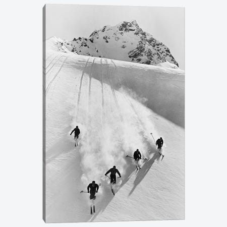 1920s-30s Five Anonymous Men Skiing Down Snow Covered Alps Switzerland Canvas Print #VTG539} by Vintage Images Canvas Wall Art