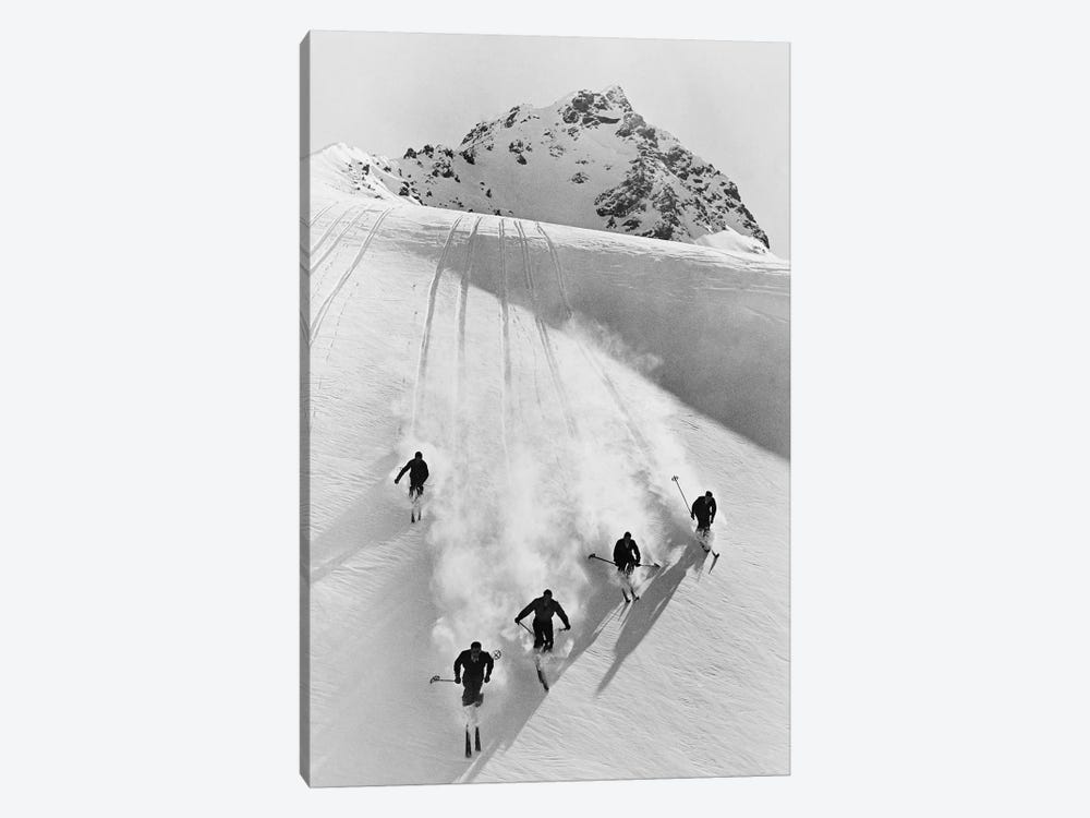 1920s-30s Five Anonymous Men Skiing Down Snow Covered Alps Switzerland by Vintage Images 1-piece Canvas Art