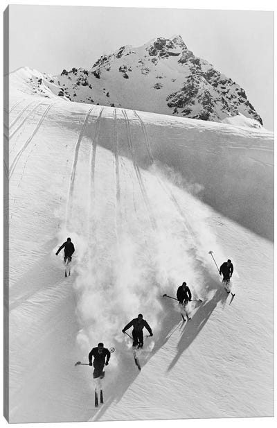 1920s-30s Five Anonymous Men Skiing Down Snow Covered Alps Switzerland Canvas Art Print
