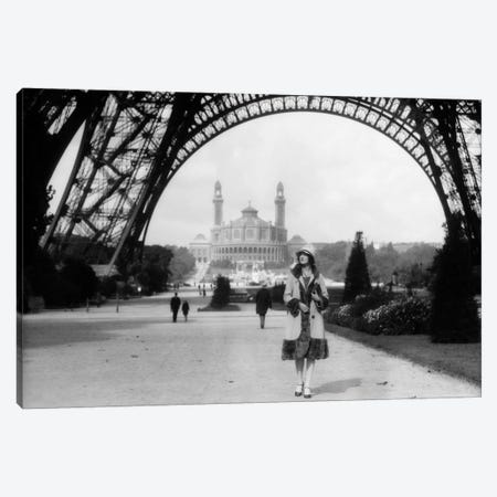 1920s Woman Walking Under The Eiffel Tower With The Trocadero In Background Paris France Canvas Print #VTG53} by Vintage Images Art Print