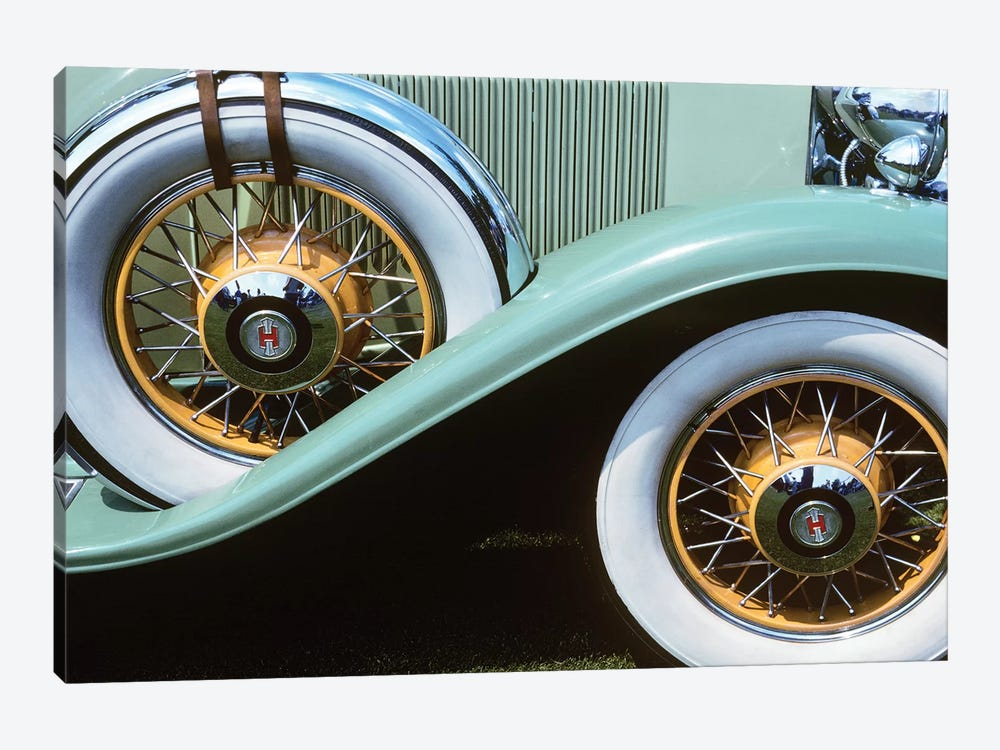 1920s-30s Front Wheel And Spare Tire On Aqua Green Antique Classic Car With White Walls And Orange Wire Rims Outdoor by Vintage Images 1-piece Canvas Artwork