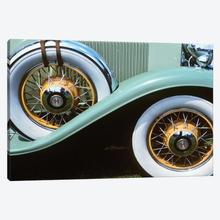 1920s-30s Front Wheel And Spare Tire On Aqua Green Antique Classic Car With White Walls And Orange Wire Rims Outdoor Canvas Print #VTG540} by Vintage Images Canvas Print