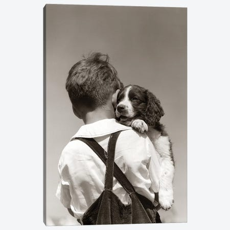 1930s-40s Back View Of Boy In Corduroy Overalls Holding Springer Spaniel Puppy 3-Piece Canvas #VTG546} by Vintage Images Canvas Wall Art
