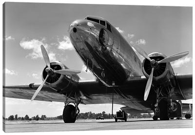 1940s Domestic Propeller Passenger Airplane Dual Engine Landing Gear Nose And Partial Wings Visible Canvas Art Print