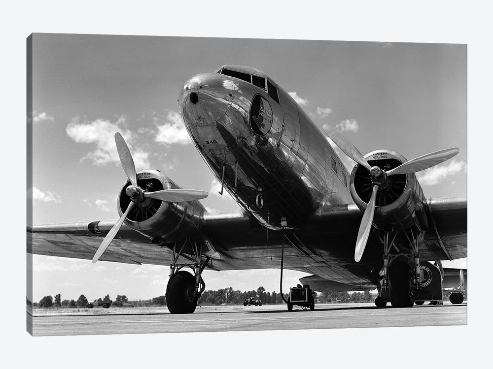 1940s Domestic Propeller Passenger Airplane Dual Engine Landing Gear Nose And Partial Wings Visible by Vintage Images 1-piece Canvas Print